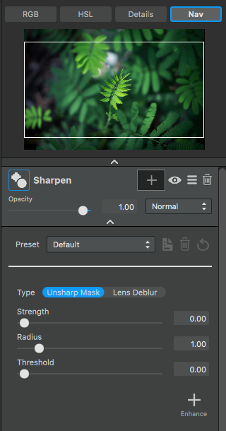 How to use the Sharpen Adjustment